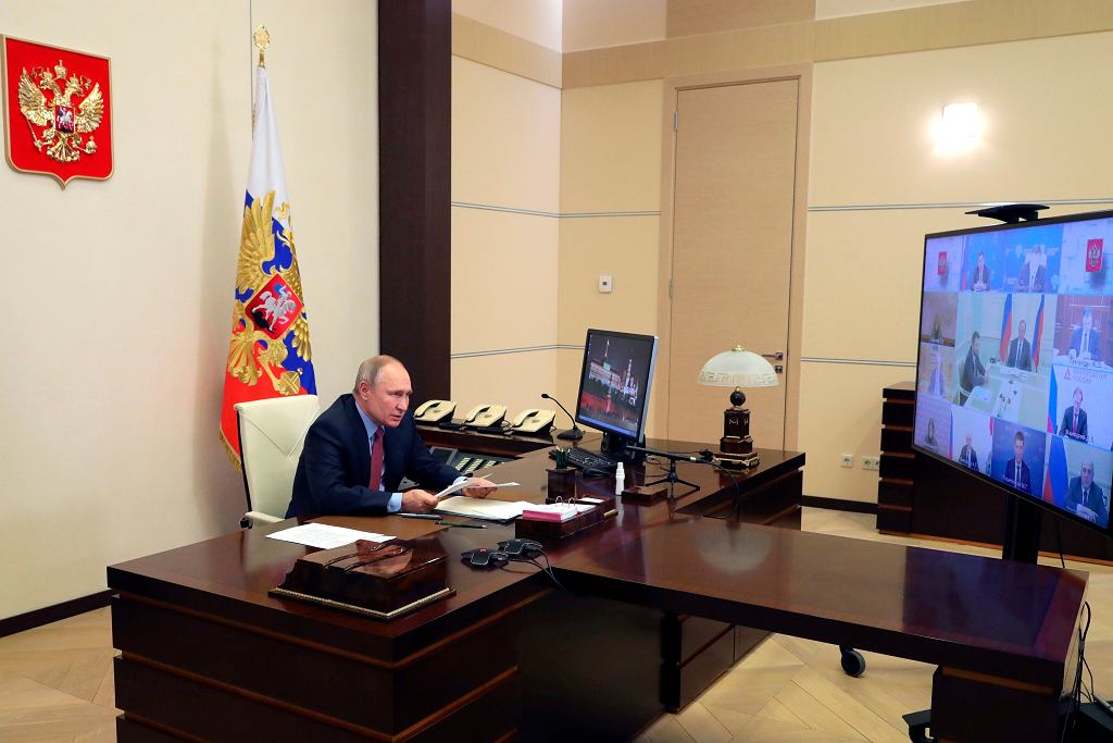 Władimir Putin podczas wideorozmowy