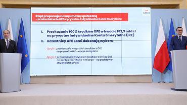 Konferencja prasowa premiera w Warszawie w sprawie przekształcenia OFE w IKE, 15.04.2019.