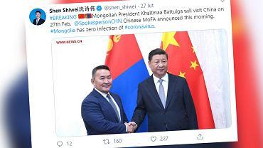 Koronawirus. Prezydent Mongolii został poddany kwarantannie po powrocie z Chin