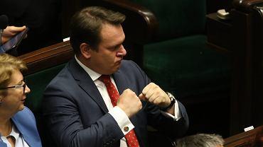 Obecny 'bulterier' PiSu, poseł Dominik Tarczyński ps. 'Jenot'. 49 posiedzenie Sejmu VIII Kadencji. Warszawa, 12 października 2017