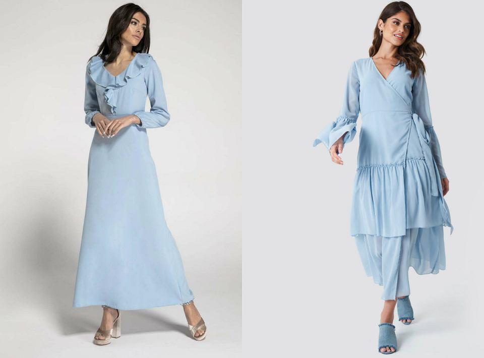 Długie błękitne sukienki sprawdzą się dla kobiet o rożnym typie sylwetki