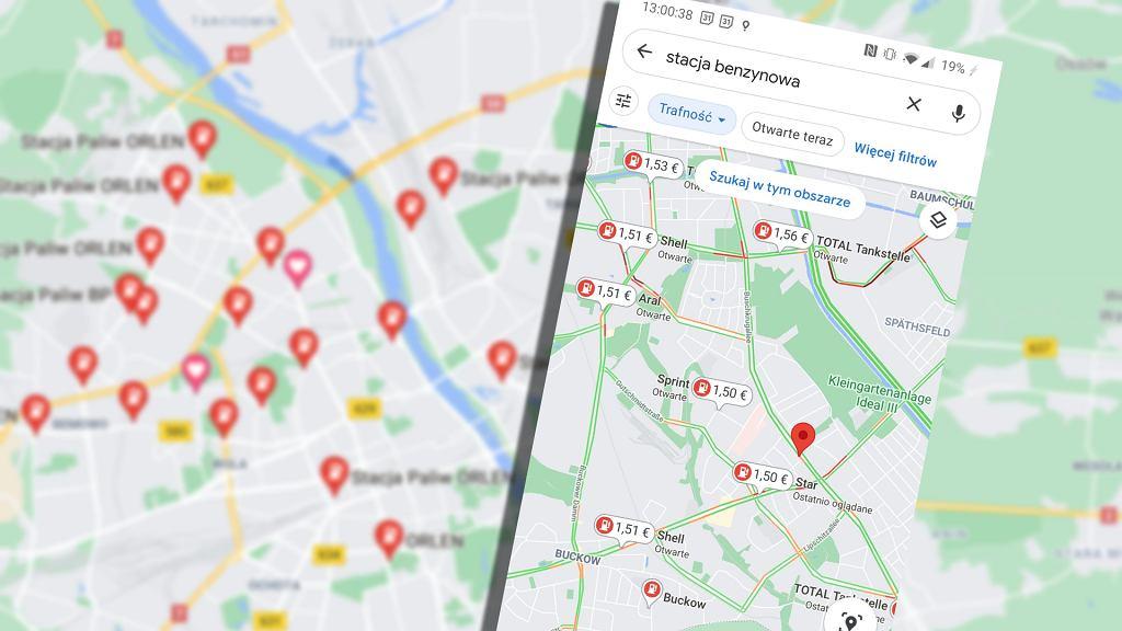 Ceny paliw na mapach Google