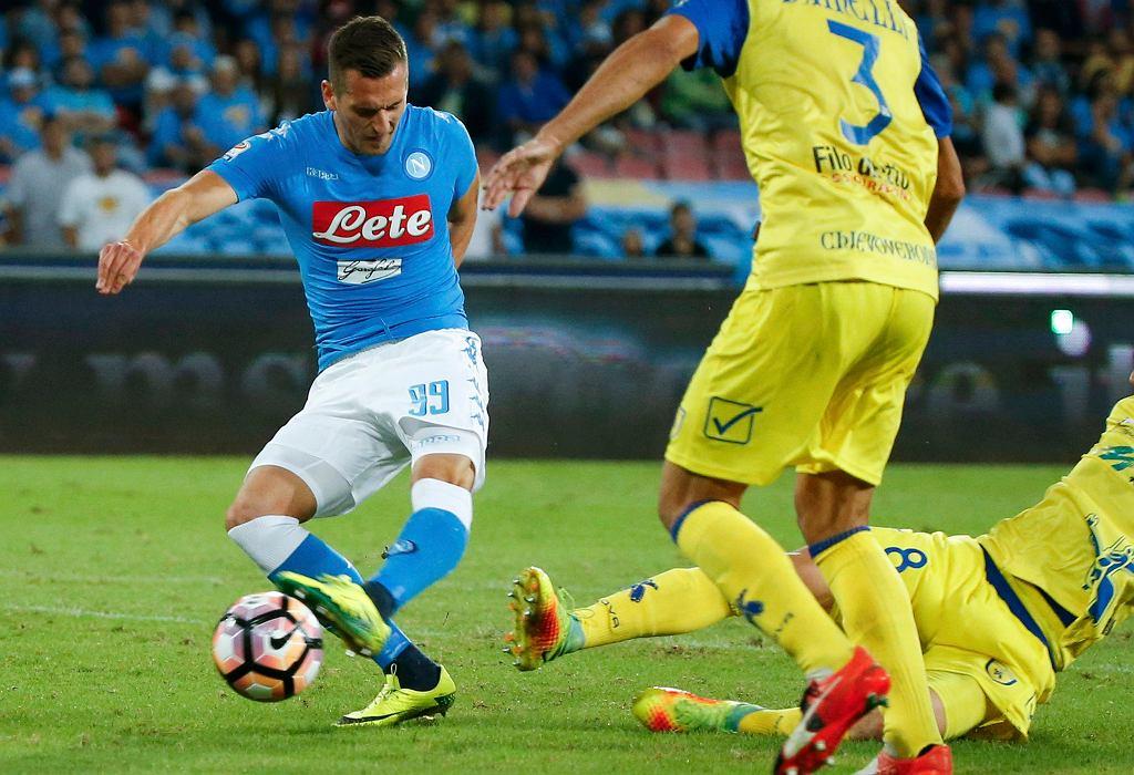 Arkadiusz Milik w meczu Napoli - Chievo