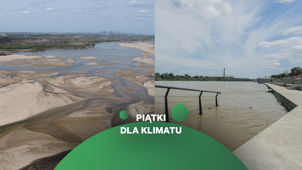 Niski i wysoki stan wody w Wiśle w kwietniu i w czerwcu