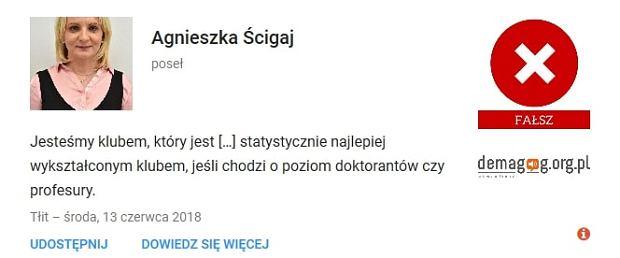 Agnieszka Ścigaj - wypowiedź zweryfikowana przez serwis Demagog.org.pl