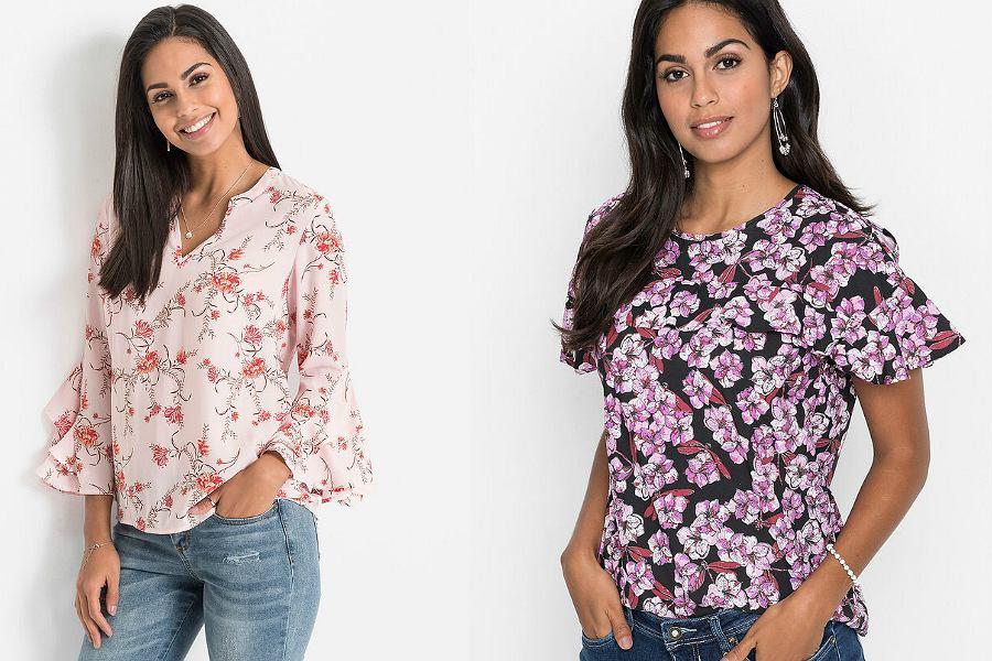 bluzki w kwiaty z krótkim rękawem
