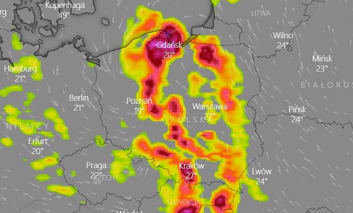 Mapa burzowa Polski na piątek 9 lipca 2021.