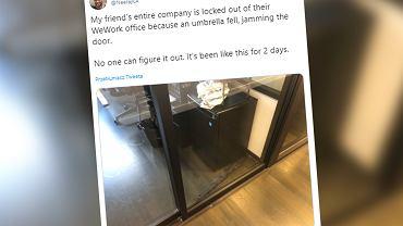 USA: W jednym z biurowców parasol zablokował drzwi