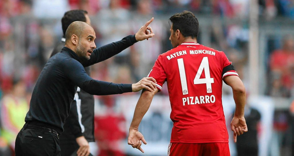 Pep Guardiola i Claudio Pizarro