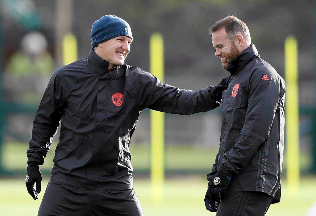 Bastian Schweinsteiger i Wayne Rooney na treningu przed meczem Manchester United - Feyenoord