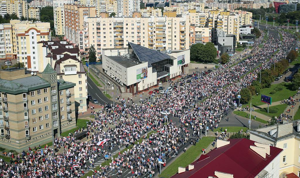 Protest w Mińsku, 13 września 2020.