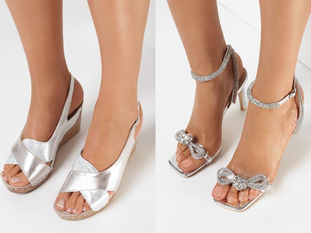 srebrne sandały na wesele