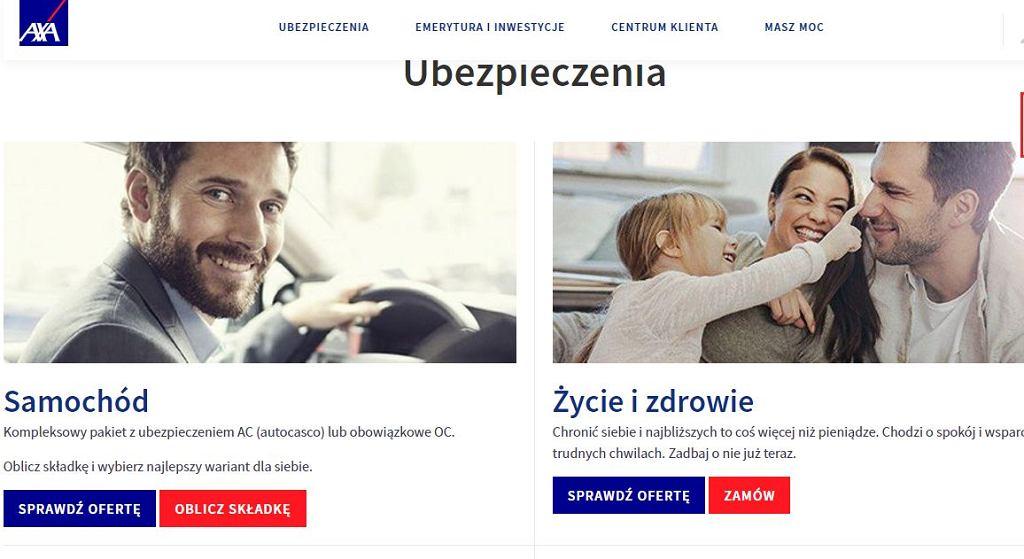 Zrzut strony internetowej Axa.pl/Fot. Axa.pl