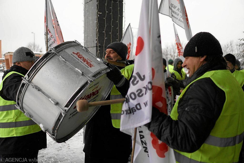 Protest związkowców w obronie prezesa JSW Daniela Ozona