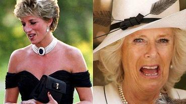 """Księżna Camilla skopiowała słynną """"sukienkę zemsty"""" księżnej Diany. Chciała ją przebić. Podobieństwo uderzające"""