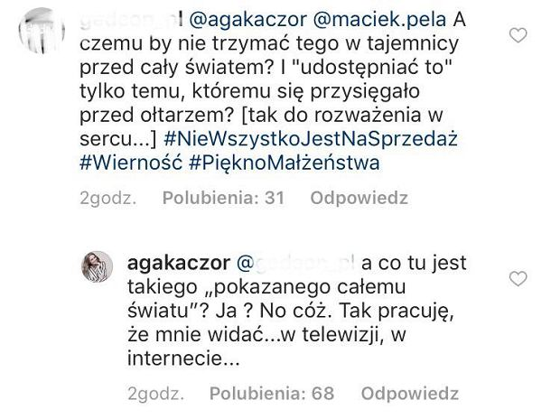 Agnieszka Kaczorowska odpowiada na komentarz