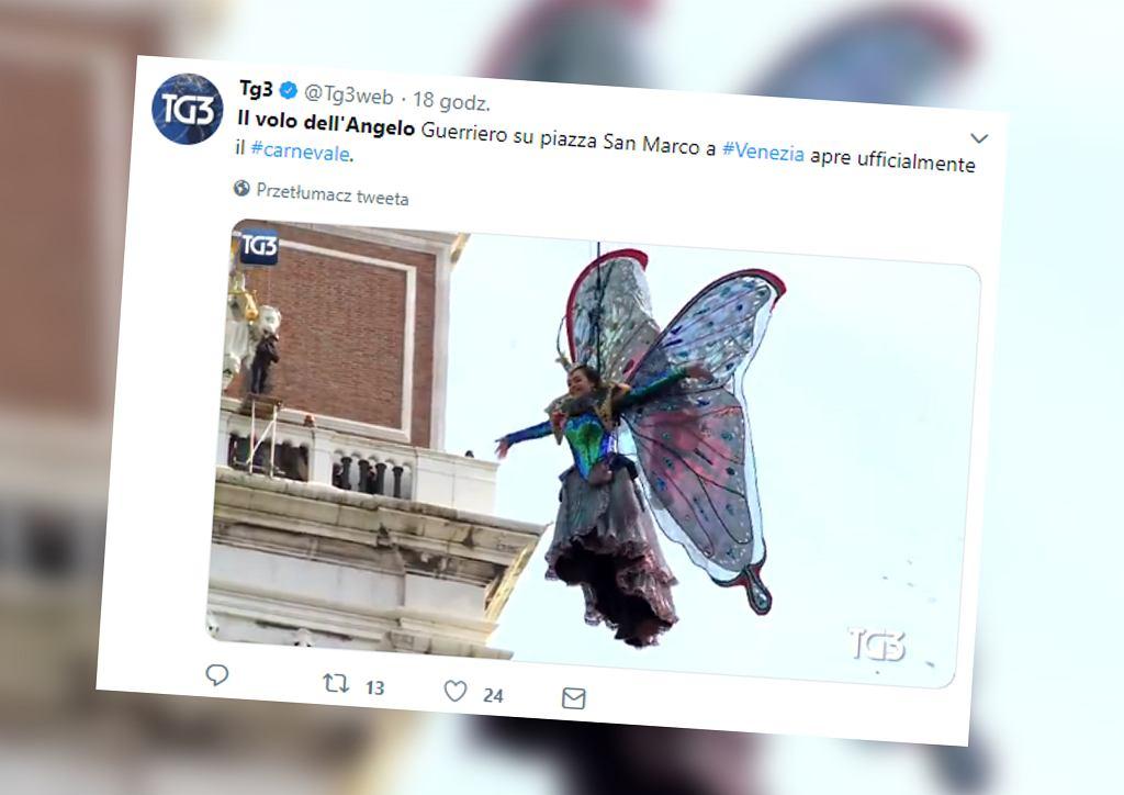 Karnawał w Wenecji. Turyści zobaczyli spektakularny 'Lot Anioła'