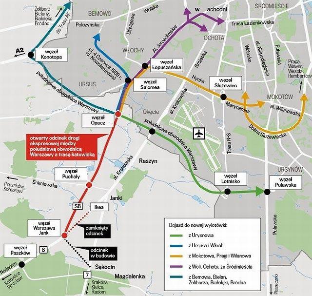 Szybciej Do Warszawy Samochodem Nowy Odcinek S8 Mapa Foto