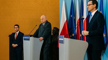 Szef NBP Adam Glapiński i premier Mateusz Morawiecki podczas konferencji na temat 'tarczy finansowej' dla firm, 8 kwietnia 2020 r.