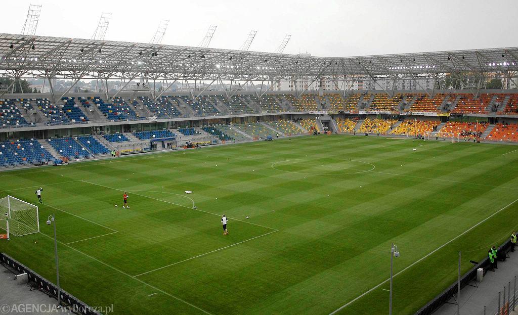 Stadion Miejski w Bielsku-Białej. Tę trawę już zdjęto
