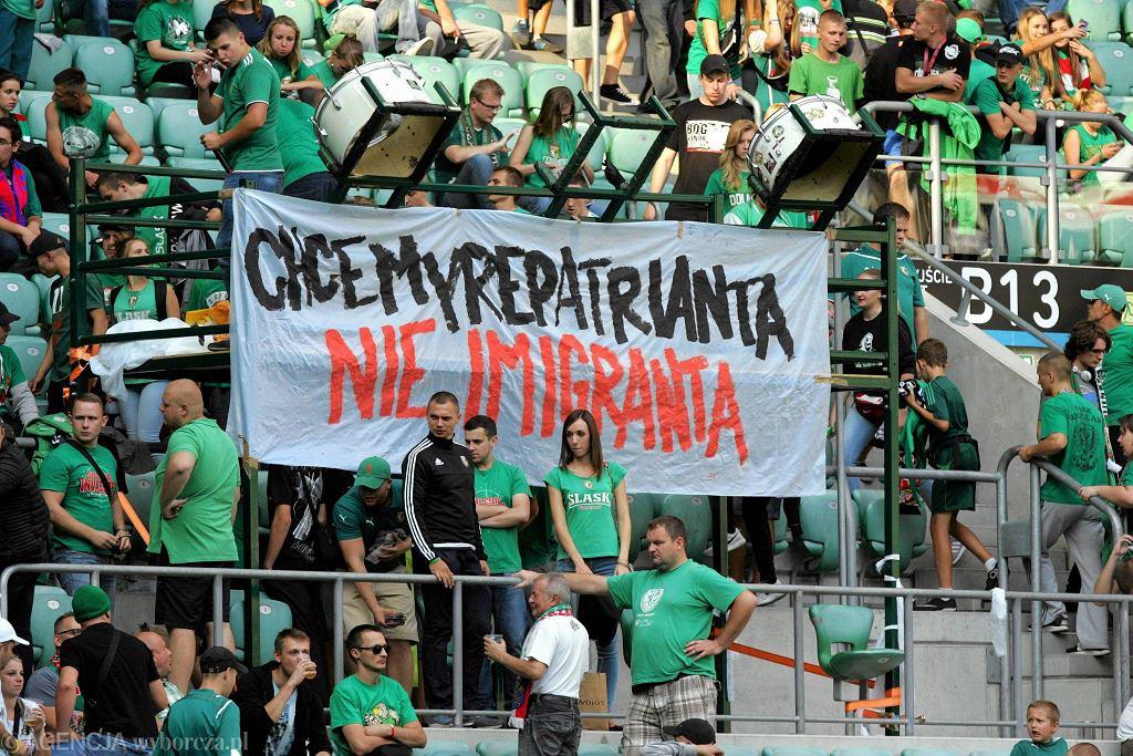 Transparent wywieszony przez wrocławskich kiboli podczas sobotniego meczu Śląsk - Jagiellonia