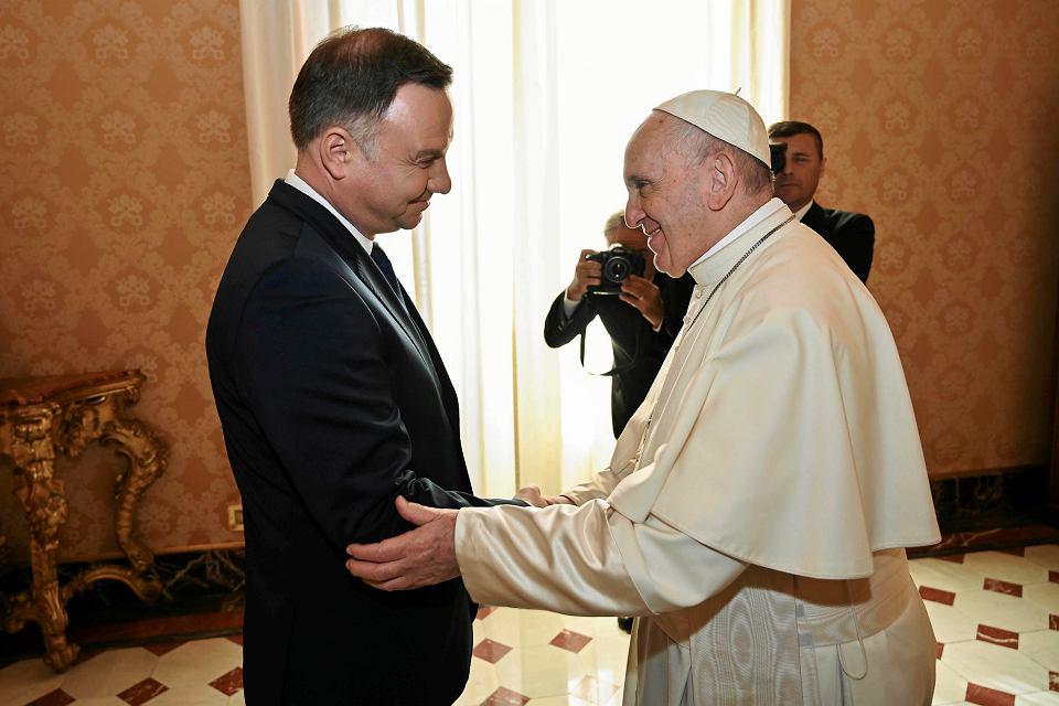 15.10.2018, Watykan, prezydent Andrzej Duda na prywatnej audiencji u papieża Franciszka.