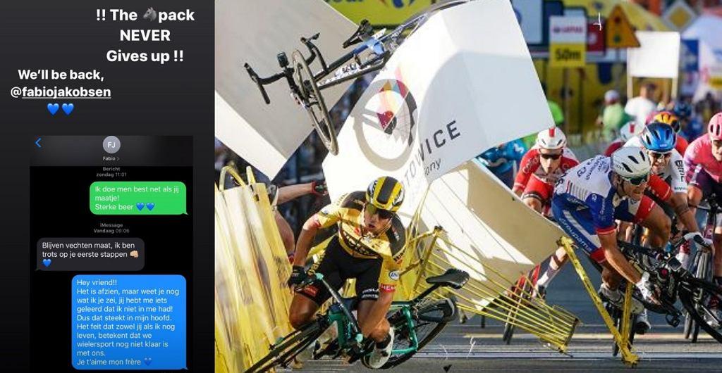 Fabio Jakobsen i Remco Evenepoel wspierają się wiadomościami po fatalnych wypadkach na Tour de Pologne i Il Lombardia