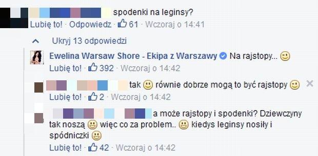 Komentarze o stroju Eweliny z Warsaw Shore