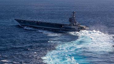 Lotniskowiec USS Gerald R. Ford podczas prób morskich