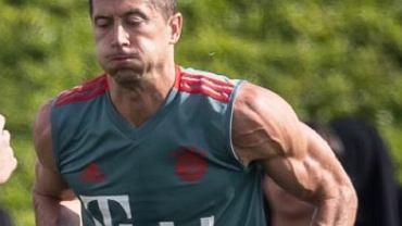 Robert Lewandowski na treningu