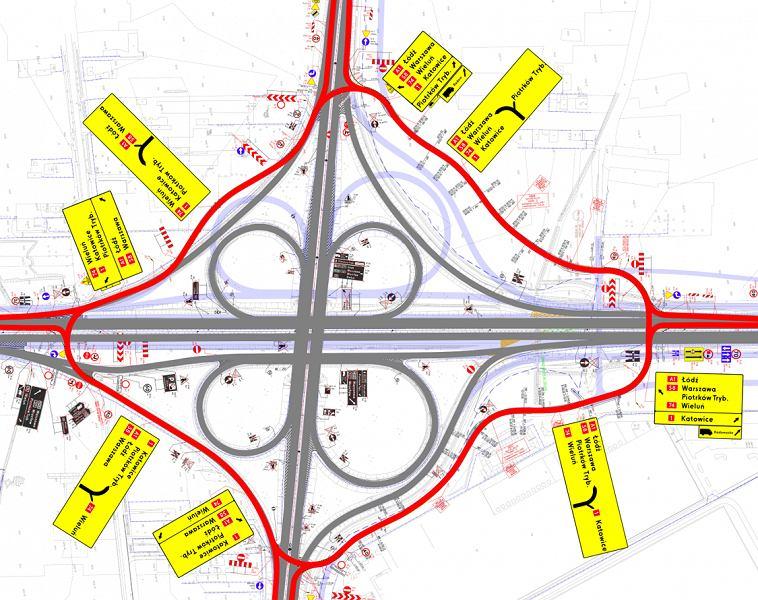 Autostrada A1, organizacja ruchu na węźle Piotrków Trybunalski Południe