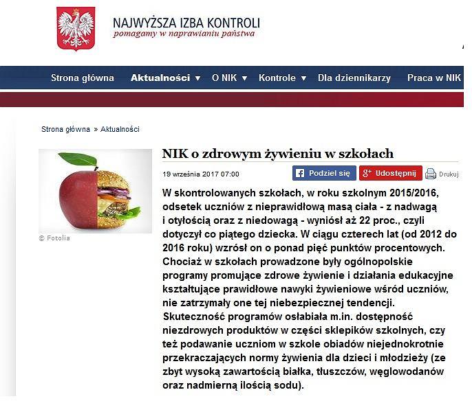 Z raportu NIK wynika, że obecnie aż 22 proc. polskich uczniów ma nieprawidłową masę ciała.