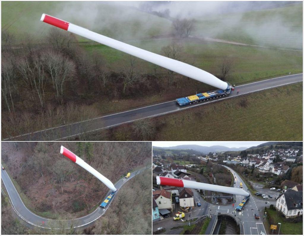 Transport gigantycznej łopaty turbiny wiatrowej realizowany przez firmę P. Adams Schwertransporte