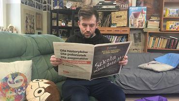 Przemysław Staroń podczas strajku nauczycieli