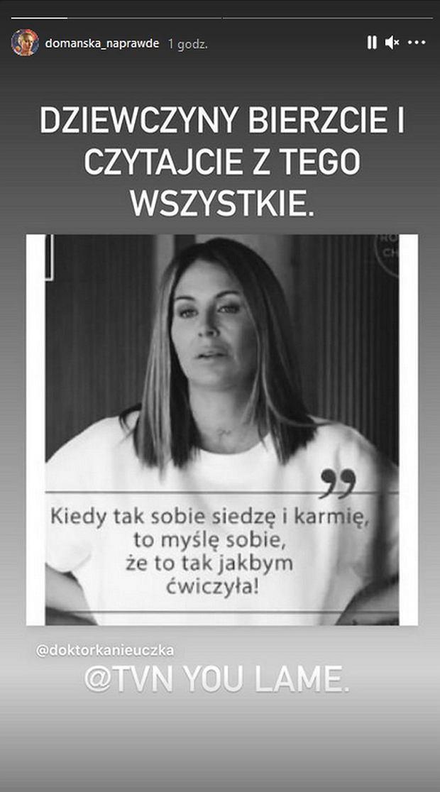 Screen z InstaStories Aleksandry Domańskiej