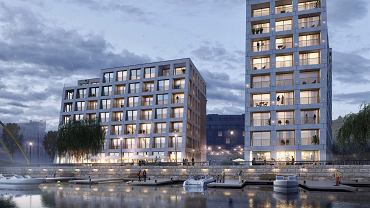 Nowe budynki przy ul. Drobnera powstają nad samą Odrą, z widokiem na wyspy Słodową i Bielarską