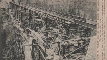 Budowa mostu kolejowego nad Jeziorem Pilchowickim