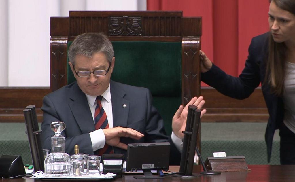 Marszałek Sejmu Marek Kuchciński i posłanka PO Agnieszka Pomaska