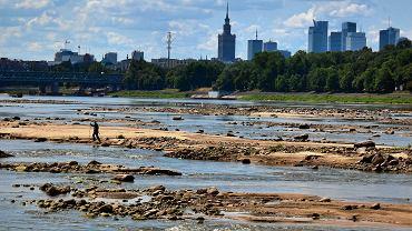 Alarmująco niski poziom wody w Wiśle