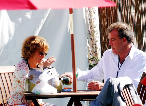 RCHARLBURY UNITED KINGDOM - JULY 12: In this file image, Jeremy Clarkson and his wife Frances Catherine Cain attend the Cornbury Festival on July 12, 2009 in Charlbury, England. Yesterday, October 26, 2011, Clarkson has lifted a Super Injunction on his Ex wife Alex Hall. The injunction prevented his ex-wife from claiming they had an affair after he remarried. PHOTOGRAPH BY Jules Annan / Barcroft Media UK Office, London. T 44 845 370 2233 W www.barcroftmedia.com USA Office, New York City. T 1 212 564 8159 W www.barcroftusa.com Indian Office, Delhi. T 91 11 4101 1726 W www.barcroftindia.com