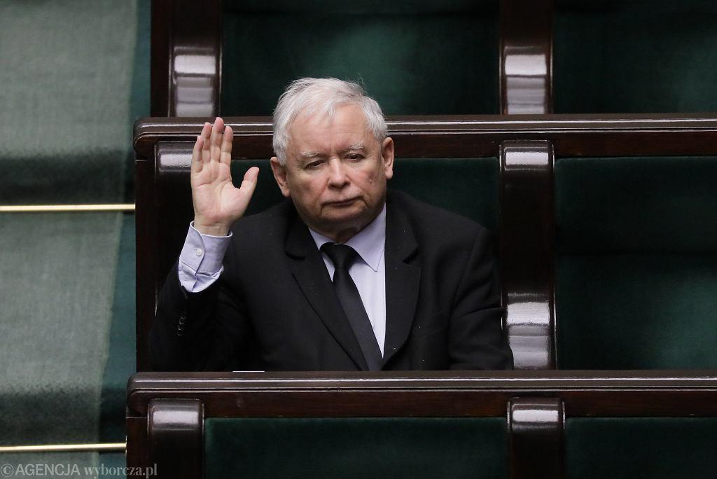Jarosław Kaczyński w ławie sejmowej