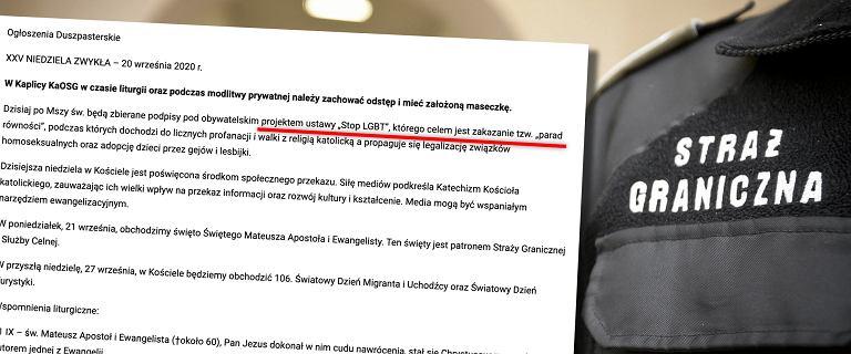 Zbiórka podpisów pod homofobicznym projektem ustawy w kaplicy Straży Granicznej