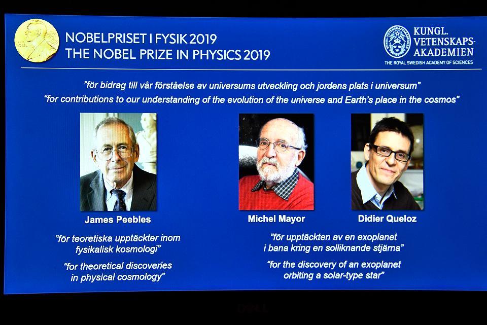 Laureaci Nobla 2019 z Fizyki: James Peebles, Michel Mayor i Didier Queloz. Ogłoszenie nagrody - Królewska Akademii Nauk. Sztokholm, 8 października 2019