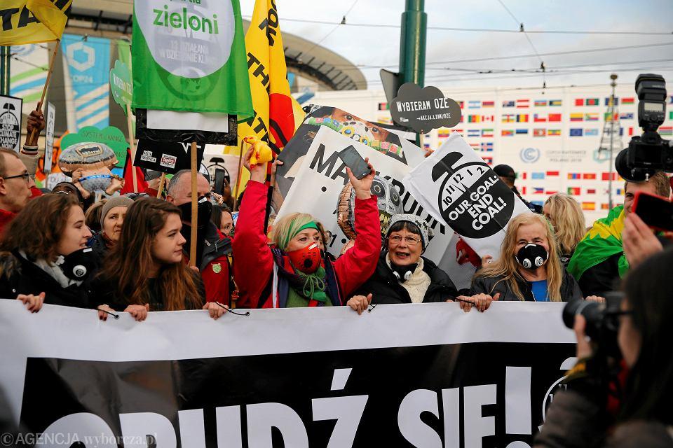 08.12.2018 Katowice. Marsz dla Klimatu przeszedł ulicami miasta. Szósty dzień szczytu klimatycznego COP24.