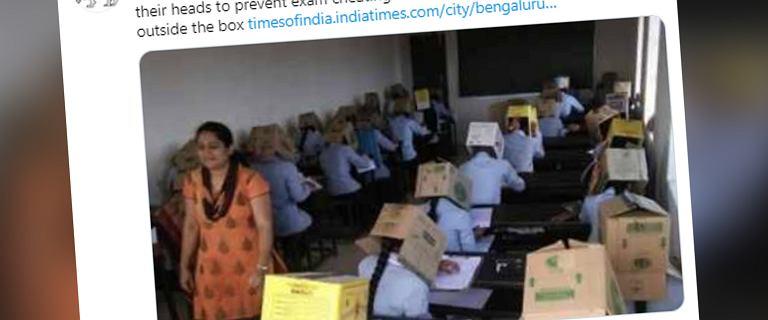 Indie. Uczniowie pisali egzamin z pudłami na głowach. Szkoła przeprasza