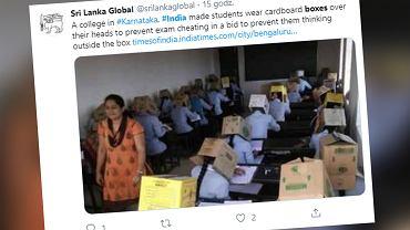 Indie. Uczniowie pisali egzamin z pudłami na głowach (zdjęcie ilustracyjne)