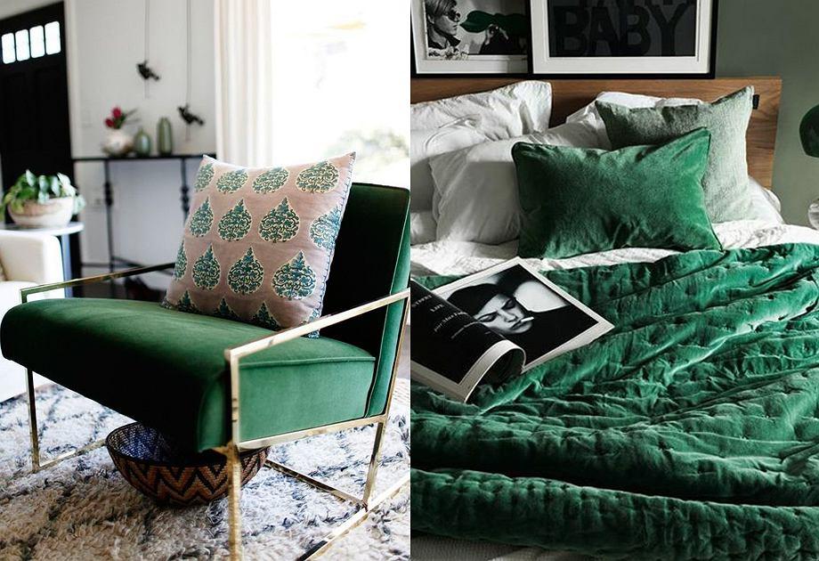 Butelkowa Zieleń We Wnętrzach Fotele Tekstylia I Dodatki