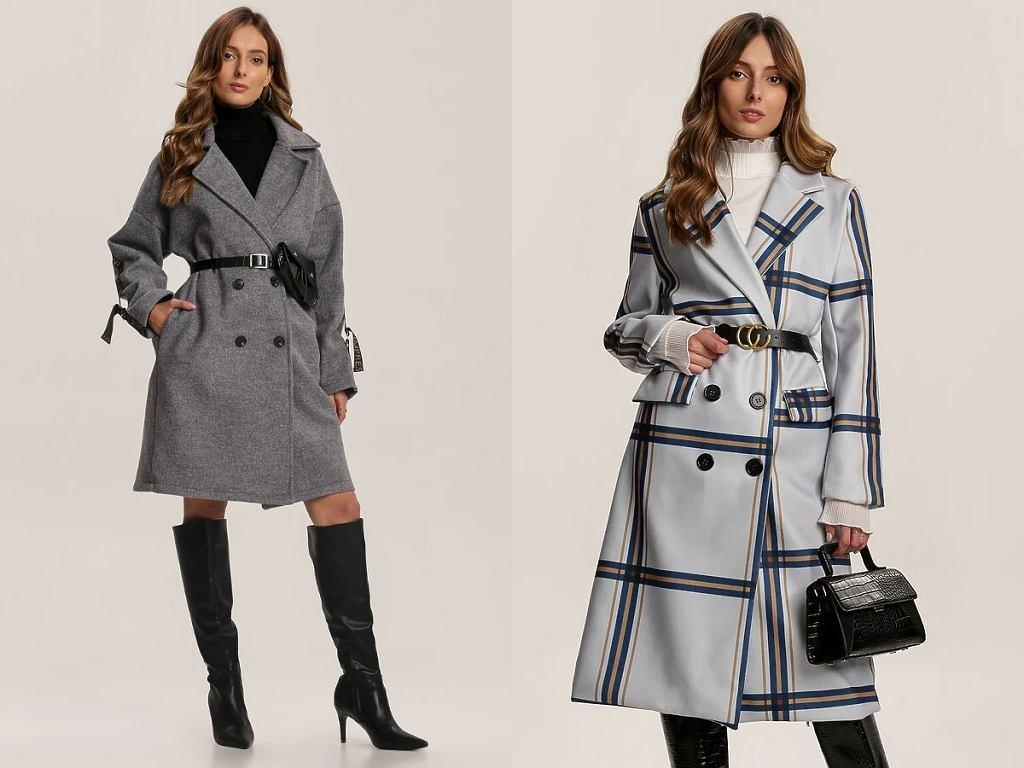 Szary wiązany płaszcz