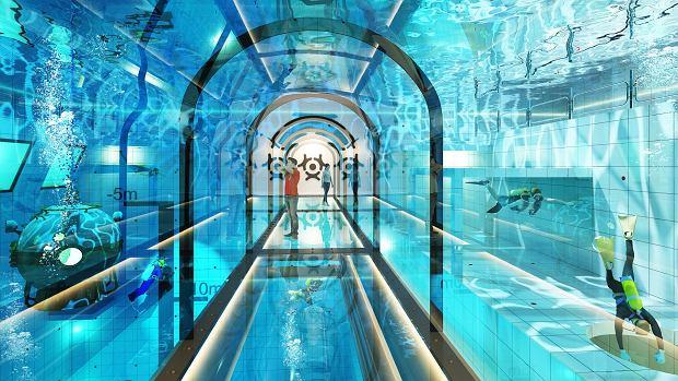 W Deepspot przewidziano korytarz z widokiem na wnętrze basenu nurkowego