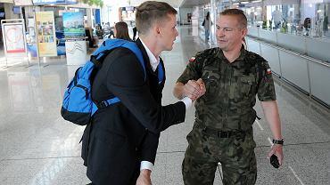 Piłkarze Lecha Poznań na lotnisku w Sarajewie przed meczem z FK Sarajevo
